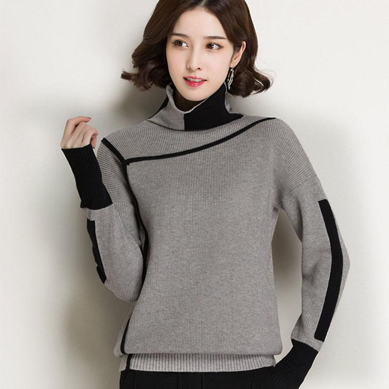 4c748fda73 2019 2018 Spring Autumn EleKnitted Sweaters Women Pullovers Winter  Turtleneck Loose Warm Plus Size KniFemale Sweater LJ225 From Seein