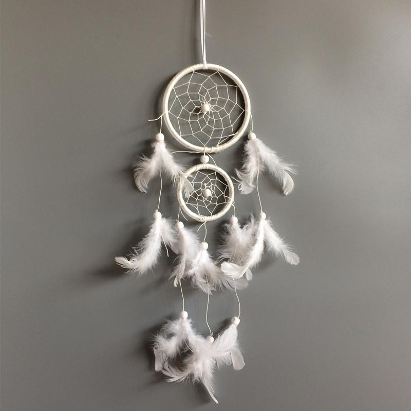 Whosale bianco del collettore di sogno della piuma degli hangings della decorazione della casa degli spettatori di sogno