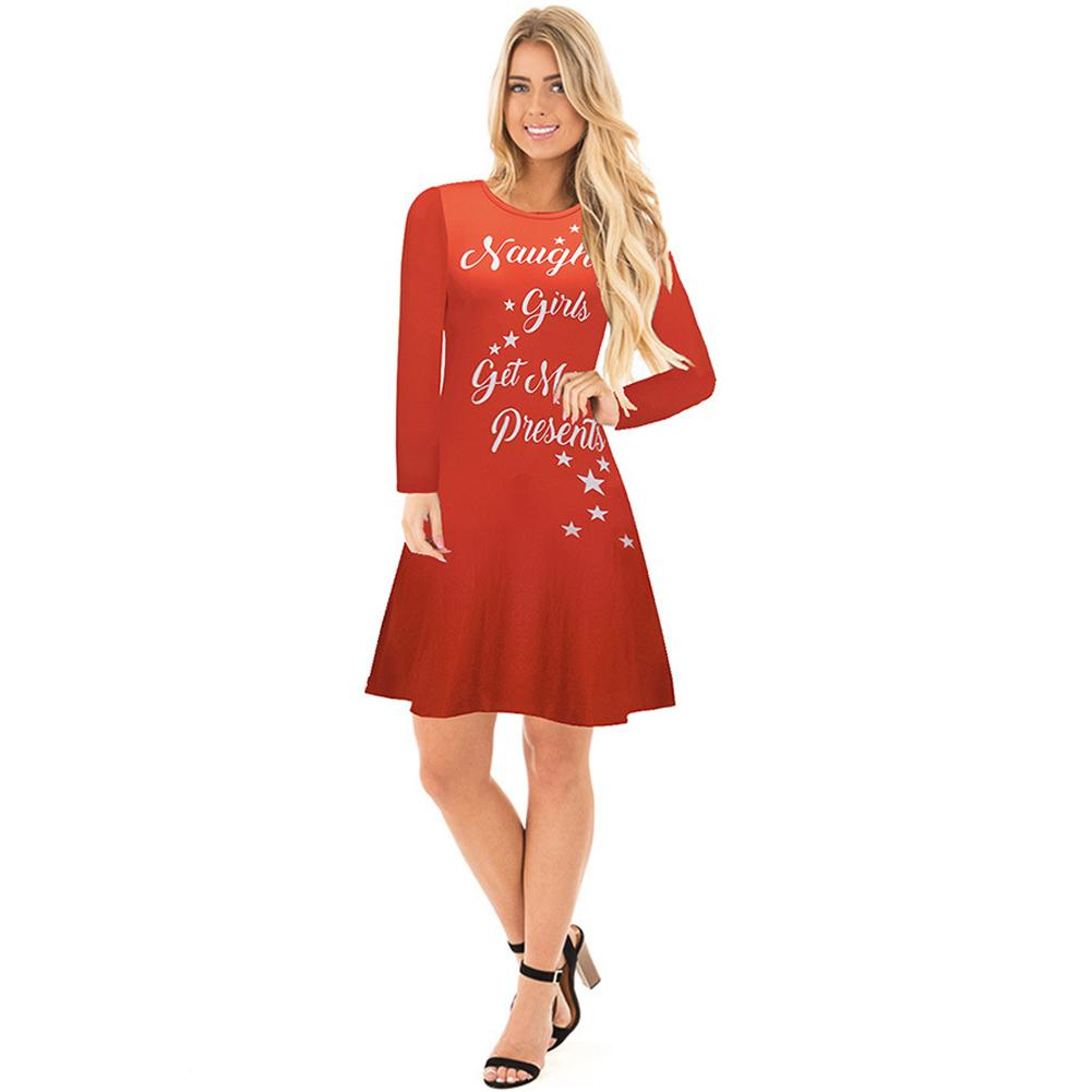 2018 New Fashion Autumn Winter Women Christmas Dress Cartoon Santa