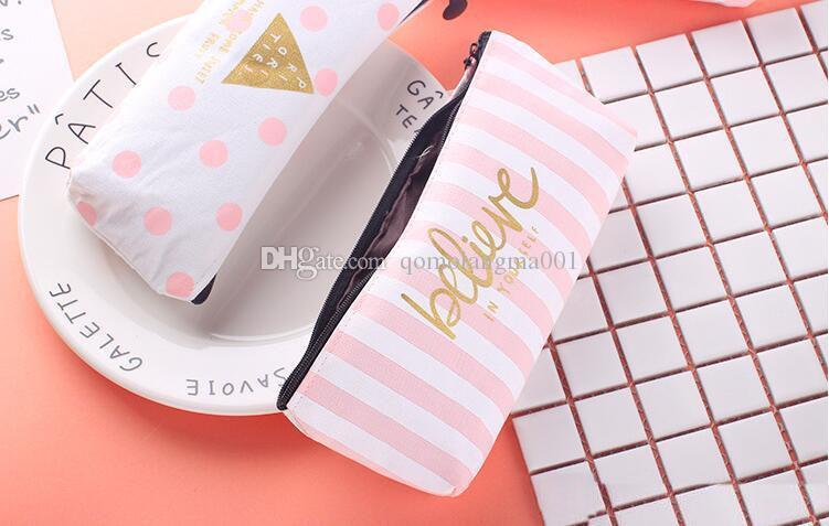 Attractive design student pen bag school pencil case delicate canvas pencil bag