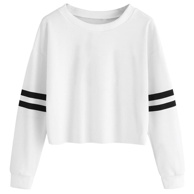 b8c0775740b5f 2019 Spring New Harajuku Striped Love Sweatshirts Crop Top Women Long Sleeve  Casual Cropped Hoodie Pullover Sweat Femme From Vikey16, $35.04   DHgate.Com