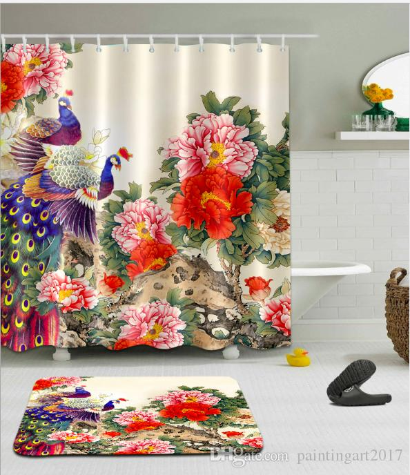 2019 Beauty Peacock Shower Curtains Polyester Waterproof Bathroom Curtain Bath With Hooks Floor Mats Sets From Paintingart2017