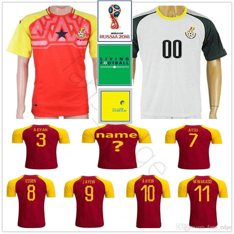 8148c2edbc2 2019 2018 World Cup Ghana Soccer Jersey A GYAN ATSU ESSIEN J AYEW BABA A  AYEW HARRISON JONATHAN AMARTEY Custom Home Red Football Shirt From  Fans edge