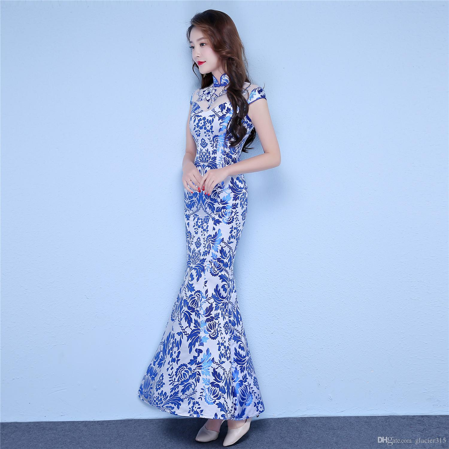 Shanghai Story Chinese Style Dress Long Qipao Short Sleeve Faux Silk blue and white porcelain dress Mermaid Cheongsam dress for Women