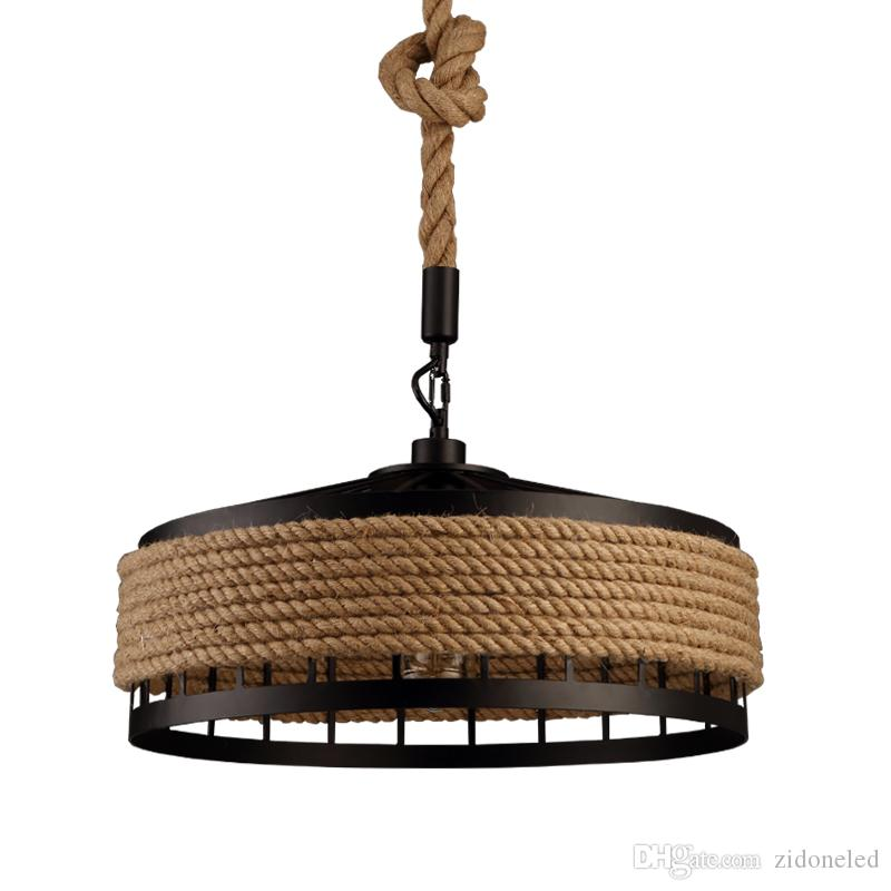 loft hemp rope pendant light industrial vintage hanging lights iron & rope chandeliers droplight for restaurant Bar coffee room decoration