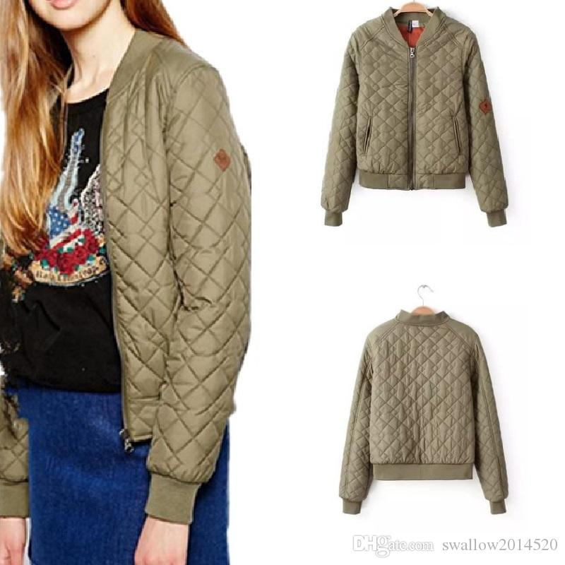 b0c350e78 New Women argyle bomber jacket solid color padded long sleeve flight  jackets casual coats ladies punk outwear top capa
