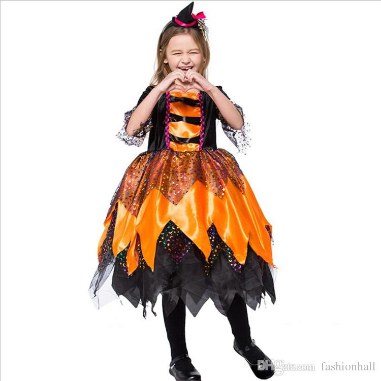 Fashion Girl Witch Costume Clothes Children Orange Witch Party Dresses Kids  Masquerade Party Halloween Cosplay Costume 2018 Girls Fun Halloween Costumes  ... 7f83df7f4b02