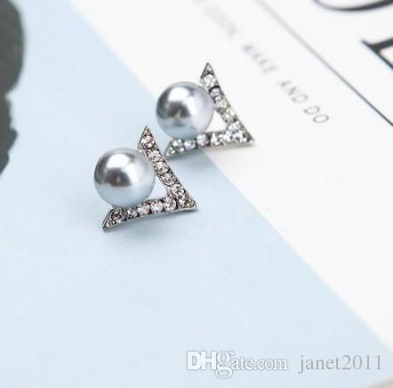 Takı Saplama Küpe Kız / Bayanlar Gümüş Kaplama Sahte İnci Rhinestone Küme Kulak Çiviler