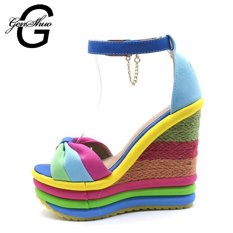 2818e8e61690 GENSHUO 2017 Summer Sexy Bohemia Rainbow Peep Toe Platform Sandals For  Womens Ladies Blue Denim Wedges Sandal Femme Small Size 4 Nude Wedges  Bridal Shoes ...