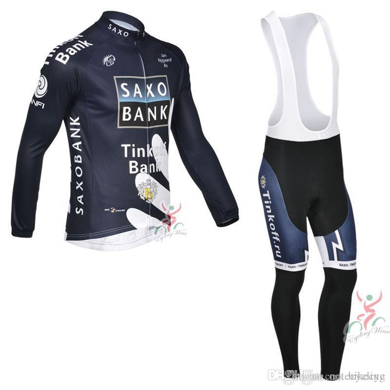 SAXO BANK TINKOFF Cycling Long Sleeves Jersey Bib Pants Sets With 3D ... def07f364