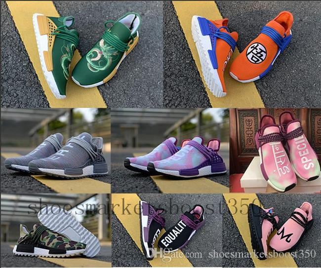 Discount Human Race Pharrell PW Hu Equality Vegeta Sports Running Shoes Dragon Ball Mens Outdoor Pink Women Trainer Sneaker Size 36-45
