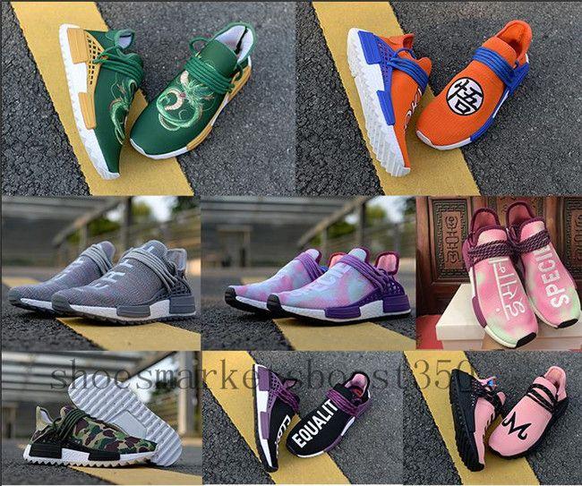 buy online daac9 6aa37 Acheter Remise Race Humaine Pharrell PW Hu Égalité Végéta Sports Chaussures  De Course Dragon Ball Hommes En Plein Air Rose Femmes Trainer Sneaker  Taille 36 ...