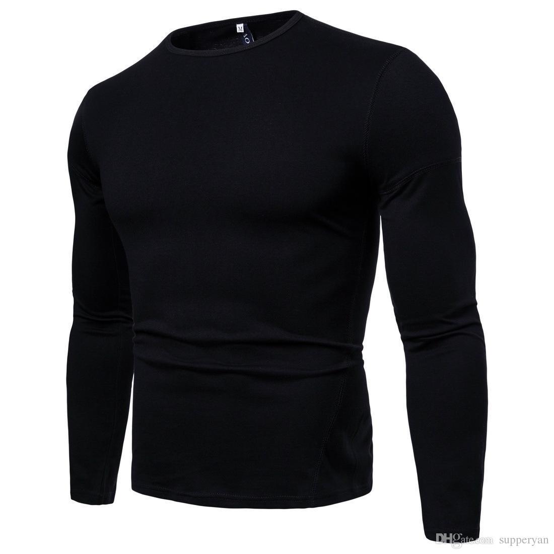 fee3d2908cb712 Brand Long Sleeve T Shirts Men Solid V Neck Plain Casual Bottom Men S Tee  Shirt Male Tops Autumn Winter T Shirts Tops J181122 Buy T Shirts Online  Funny Tee ...