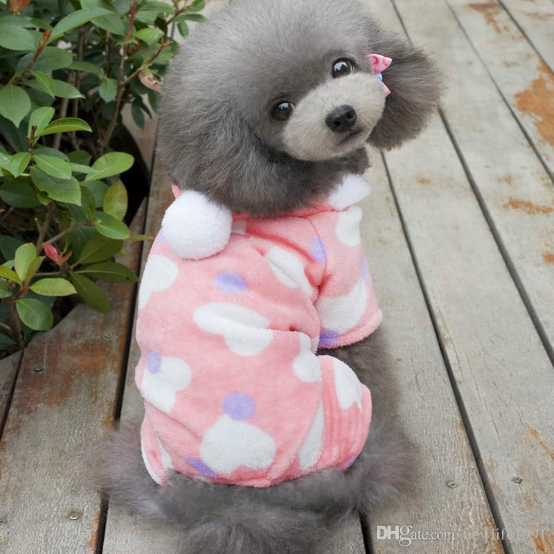 Lovely Dog Clothes Cute Pink Puppy Hooded For Pet Clothing Heart Style Peach Fashion Dogs Clothings Free Ship