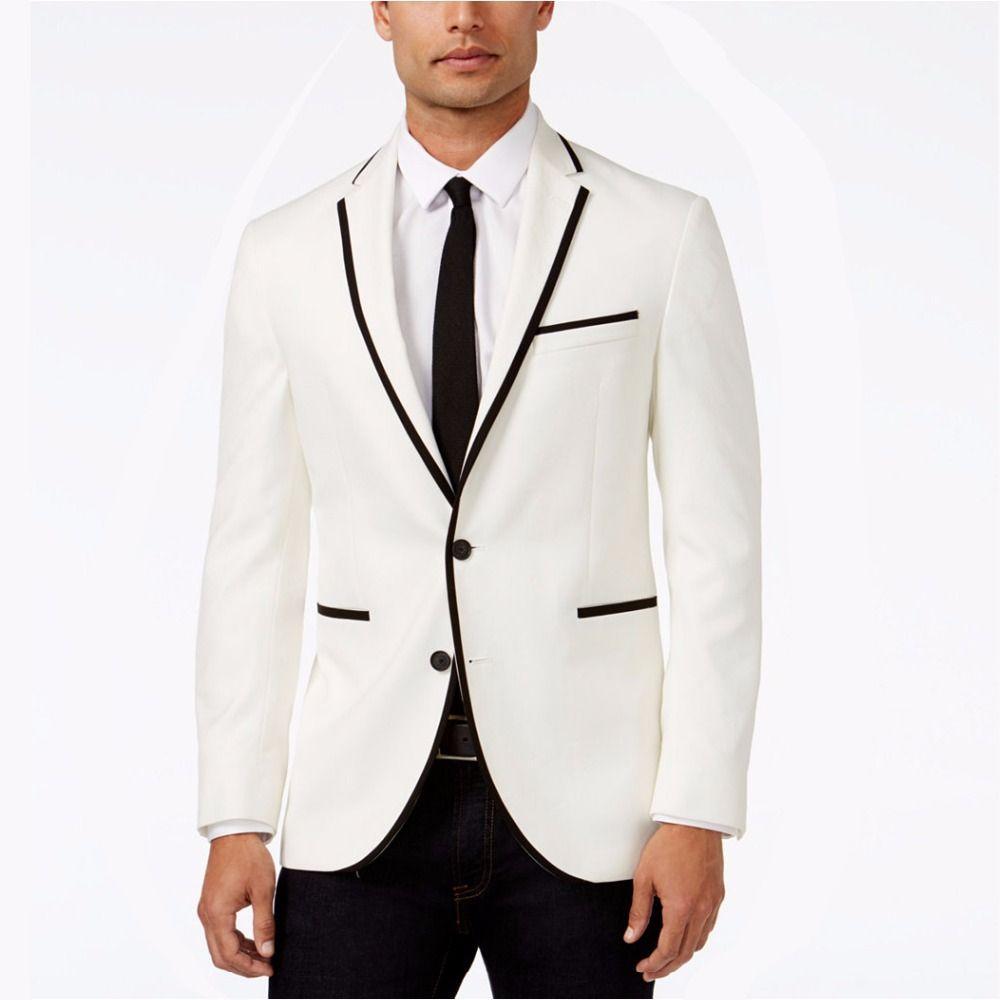 e2a1649a94659 ... Clásico De Los Hombres Por Encargo Blanco Marfil Traje De Los Hombres  Formal De Negocios Novios Tuxedos Blazer Para Hombre Con Pantalones Borde Negro  2 ...