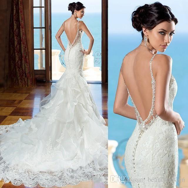 2018 Beautiful Backless Wedding Dress Kitty Chen Sweetheart Lace ...