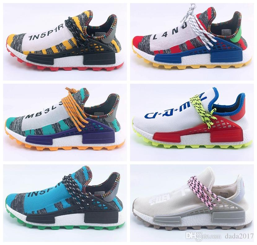 4f952f4f0 2018 Human Race Creme X NERD Solar PacK Running Shoes Pharrell Williams  Afro Hu Trail Equality White Women Mens Trainers Chaussures 36 47 Spikes  Shoes Best ...