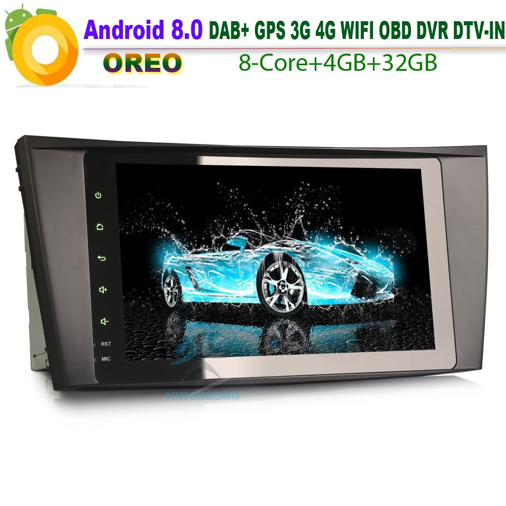 8 Core 8 Android 8 0 Car GPS Radio For Mercedes E-Class W211 E200   DAB  Wifi 4G Navi RDS Bluetooth Head Unit TPMS OBD DVR