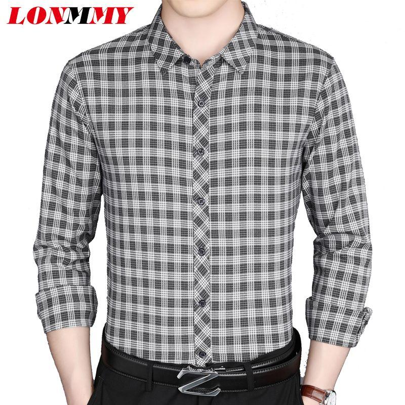 a1f1153eaa74e Compre LONMMY Camisa A Cuadros Para Hombre Casual Slim Fit Camisas Para  Hombre Vestido Para Hombre Camisa Blusa De Manga Larga Ropa De Moda Gris  Rojo A ...