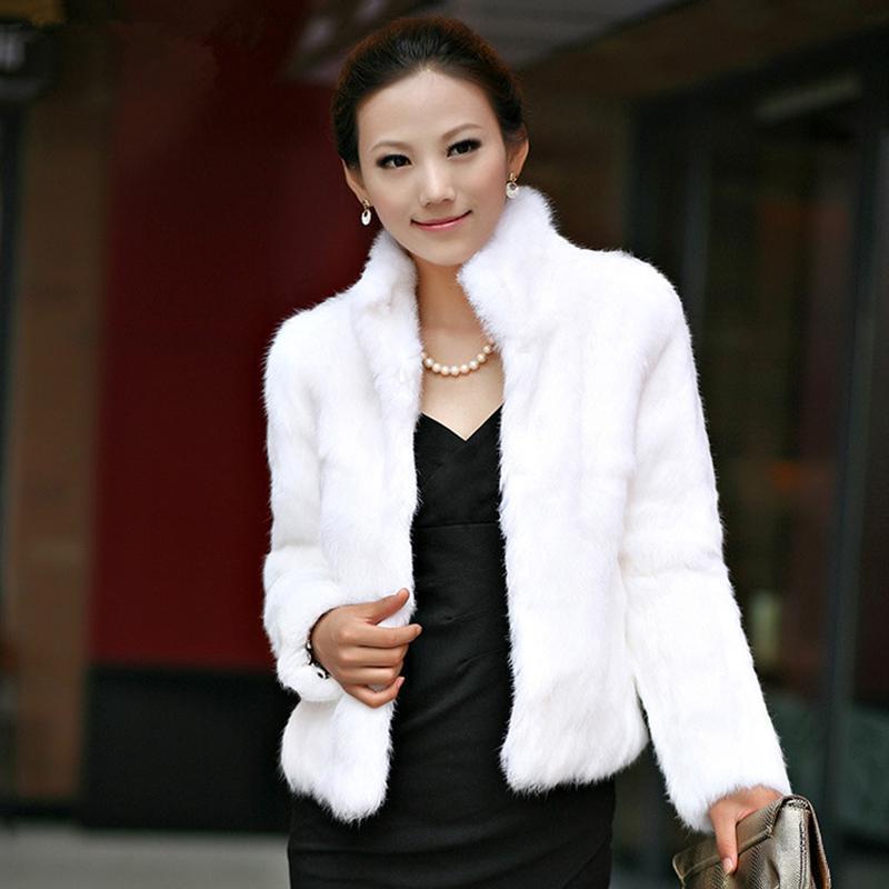 41858baa4 Abrigo de piel de conejo de lujo para mujer de invierno grueso cálido  chaqueta de piel sintética de manga larga para mujer abrigo mullido blanco  ...