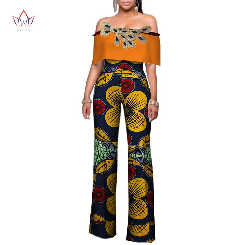 747161998a22 2019 BRW Women Clothing Africa Rompers Womens Jumpsuit Bazin Riche Out Off  Shoulder Long Pants For Women High Waist Bodysuit WY2481 From Bintarealwax