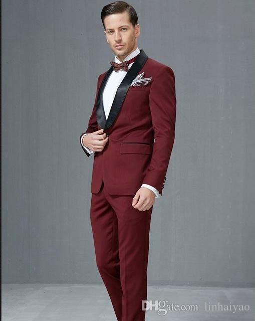 Side Vent Groomsmen Shawl Satin Lapel Groom Tuxedos Burgundy/Wine Men Suits Wedding Best Man (Jacket+Pants+Tie+Hankerchief)