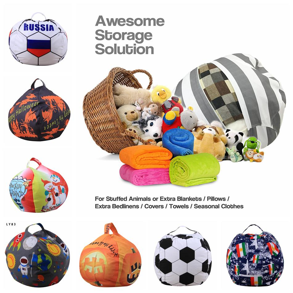 Stuffed Animal Storage Bean Bag 53 Styles 46cm Football World Cup Chair Portable Kids Toy Storage Bag Play Mat Clothe Kids Handbag OOA5089