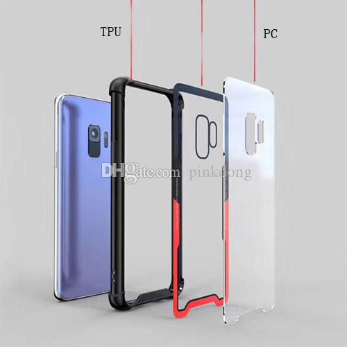 Hybrid Clear Transparent Glass Tempered Rubber Rugged combo case cover skin for Samsung Galaxy J2 Prime J7 Prime J7 DUO