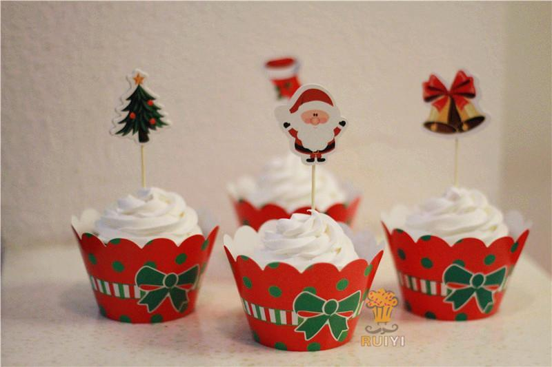 Classic Christmas Dress Up Paper Cupcake Wrappers Decorating Boxes Baking Cake Cups With Toppers Picks For Kids Xmas Party Decor
