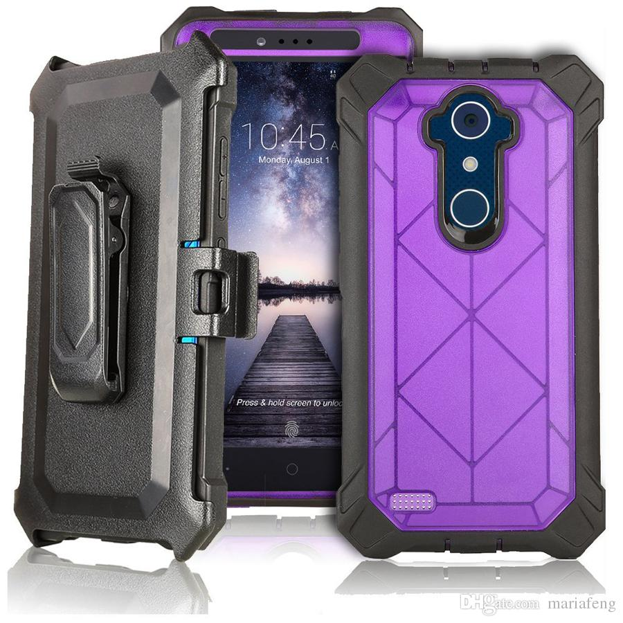 new products f239c 2a09f For zte X Max XL 23 zmax pro 2 sequoia heavy duty armor holster belt clip  case with Built-in Screen Protector