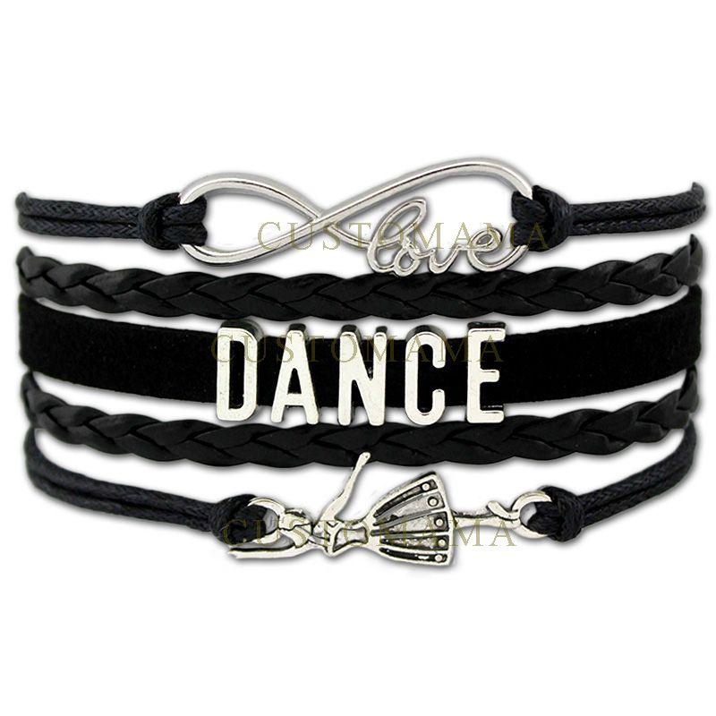 /  Infinity Love Dance Wrap Bracelets Pour Femmes Hommes Cadeau Danseur Danse Bracelet En Cuir Noir En Daim Personnalisé Bijoux