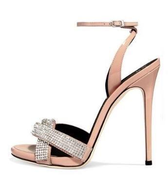 Lo nuevo 2018 Crystal Embellished Sandalias de Tacón Alto Recortable Correa de Tobillo Zapatos de Vestido de Verano Beige Delgada Talones Zapatos de Fiesta de Mujer