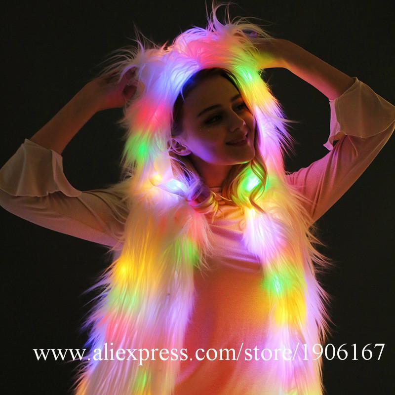 eeeab7a36f3 Acheter Led Luminous Fur Dance Team Gilet Led Light Up Scène Performance  Vêtements Halloween Événement De Noël Partie Salle De Bal De Plus En Plus  Costume ...