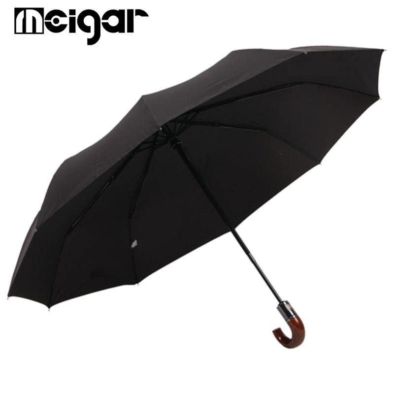 7d53167001a1 Three Folding Umbrellas Full Automatic Solid Black Wind Resistant for Men  Male 10 Rib Quantity Strong with Wood Bent Handle