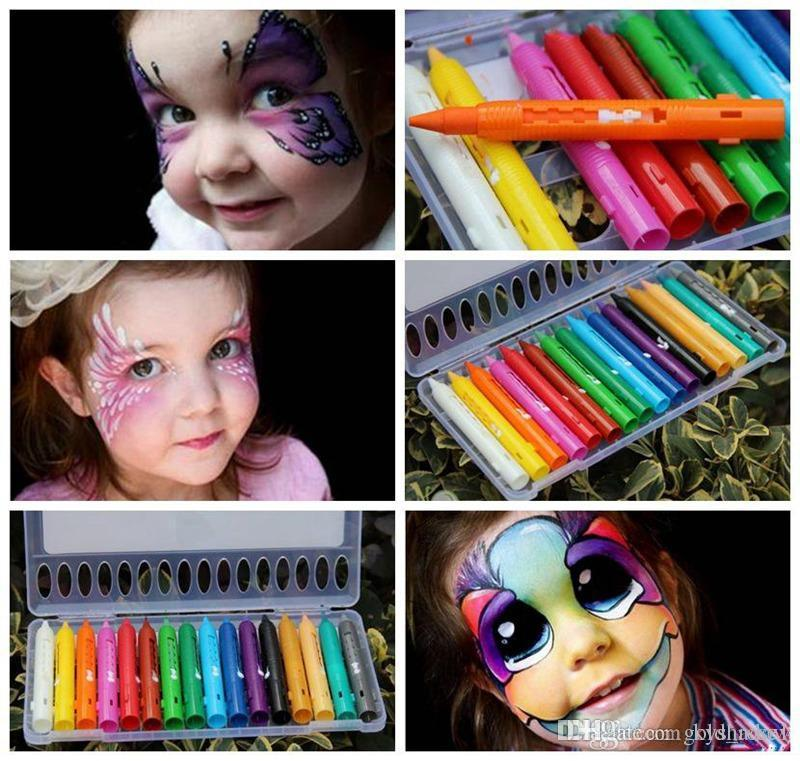 16 Colors Face Painting Pencils Splicing Structure Face Paint Crayon Christmas Halloween Body Painting Pen Stick For Children Party Makeup