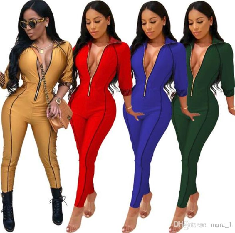 d9ff437d5a8 2019 Women 3 4 Sleeve Jumpsuit Lapel Neck Striped Rompers Sexy Night Club  Overalls Bodysuit Designer Women Clothes Skinny Slim Tights Leggings From  Mara 1