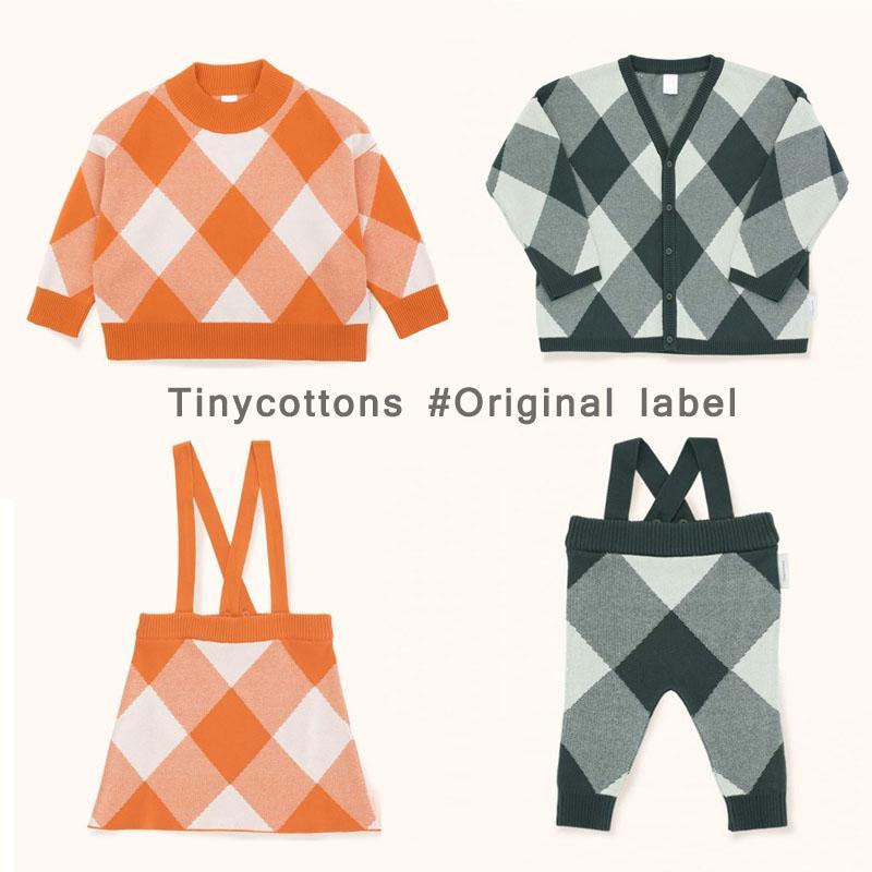 BBK Pre-sale Tiny Cottons 2018 Autumn Kids cotton Knitted cardigan boy  sweaters Diamond pattern Baby girls Outerwear sweater C*