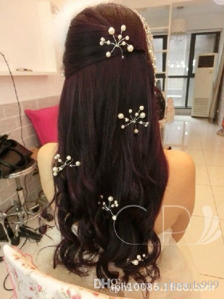 Gelin el yapımı şapkalar Kore saç inci saç çatal Saç Kostüm