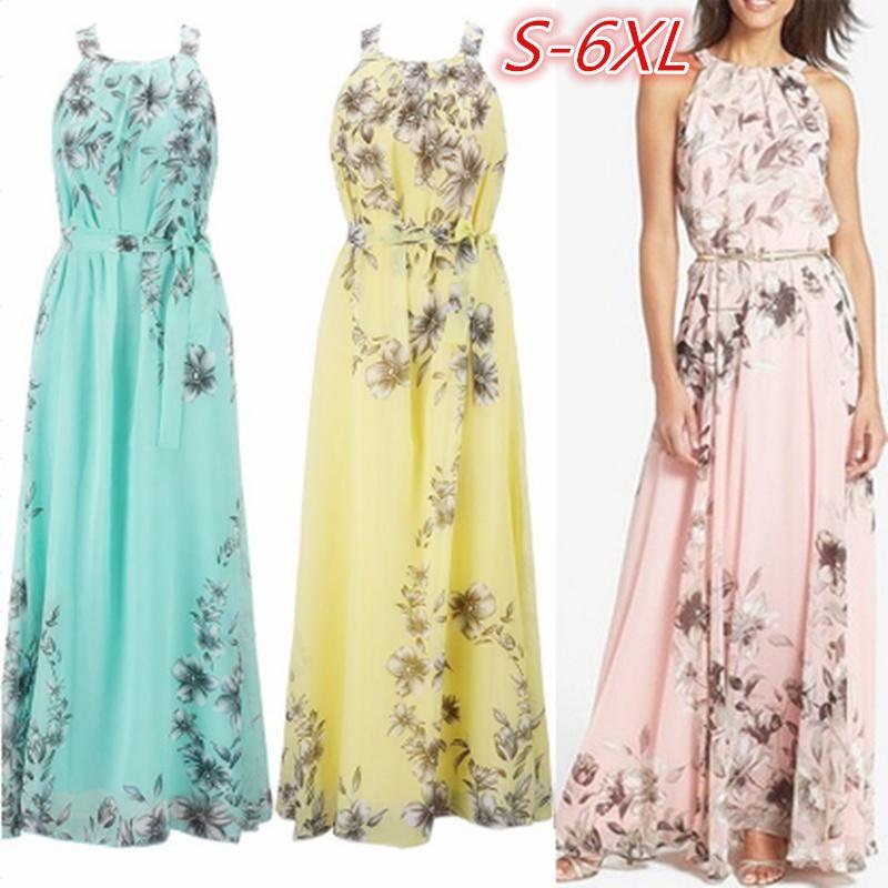 9f0be15683b7c Women Bohemian Sleeveless Chiffon Floral Print Halter Maxi Skirt Beach Dress  Long Skirt Plus Size Prom Dresses Dress From Steveee