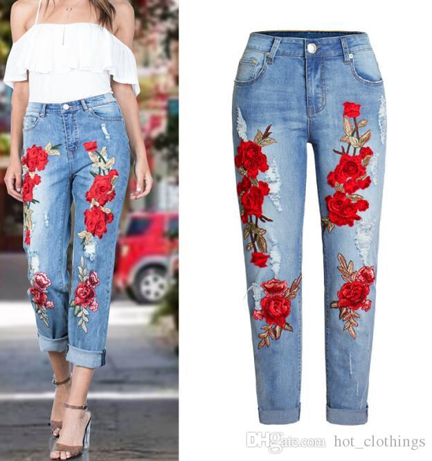 Fashion Scuffs 3D Embroidered Flowers Hole Ripped Jeans S-3XL Plus ... 0e346daa8928