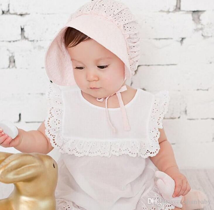 b4c728d62ca18 2019 Sun Hats Toddlers Baby Girls Boys Lace Flower Hollow Cap Soft Bonnet 3  18 Months Pink White From Shunbaby