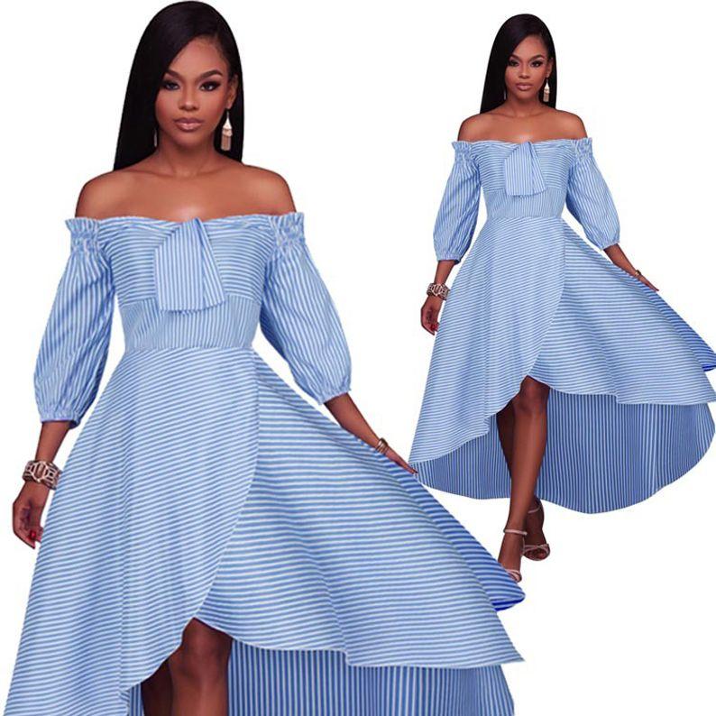 2018 Fashion Woman Summer Dress Word Shoulder Lantern Sleeve Swim Party  Dresses Short Front Long Striped Casual Women Plus Size Maxi Dresses White  Summer ... 8da75b9b31ff