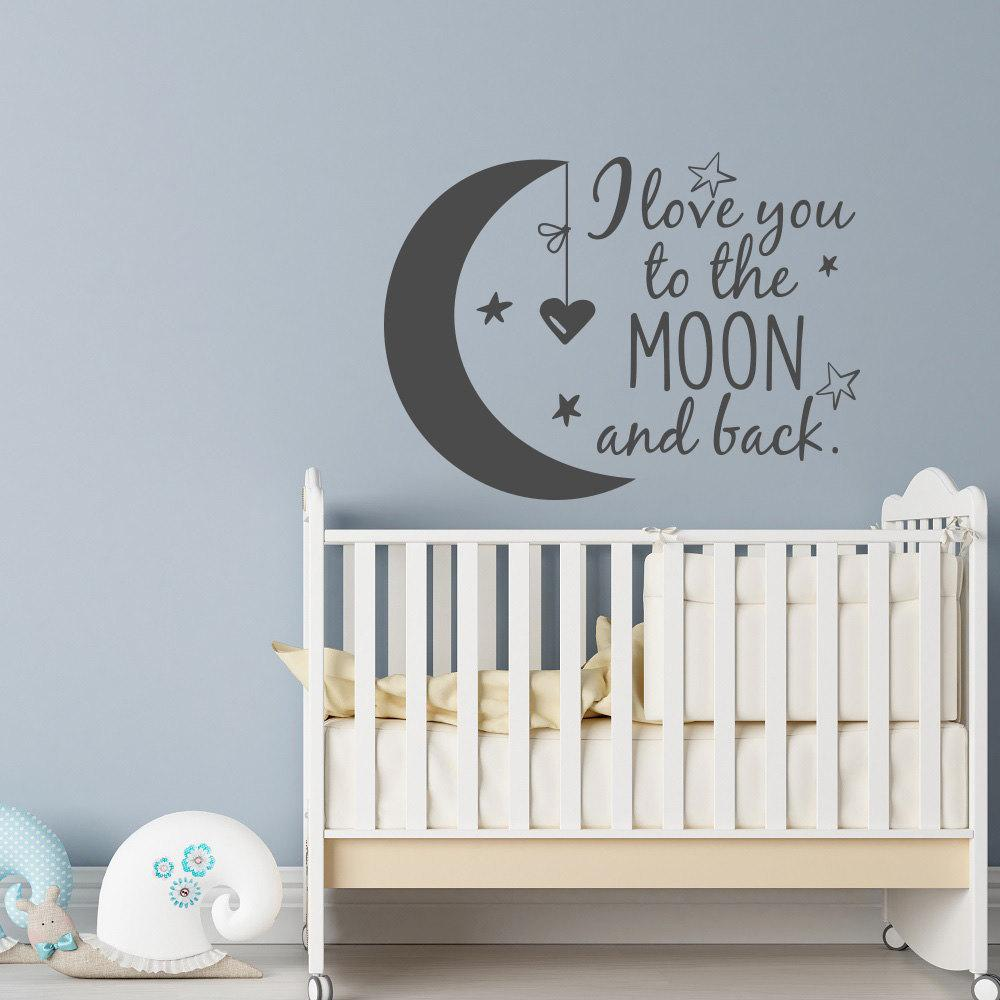 English quote Cute Baby Kids Bedroom Wall Stickers Stars Heart Vinyl decor  Decal I Love You to the Moon and Back Home Mural