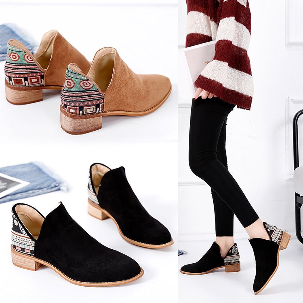 Compre Botines Sin Cordones Con Tacón Cuadrado De Ante De Mujer Vintage  Botas Martin Zapatos Con Punta En Punta A  33.18 Del Lightout  fb32f07c8f93