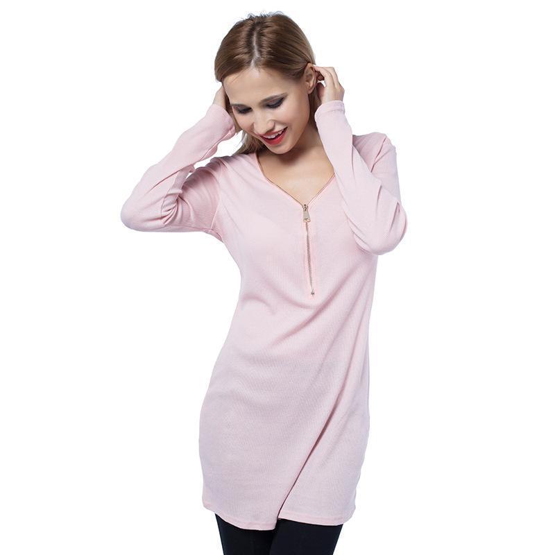 4c874a104e68 2018 Autumn Winter Women Dresses Zipper O Neck Sexy Button Knitted Dress  Long Sleeve Solid Body Sheath Pack Hip Dress For Women Clothing Dress  Cocktail ...