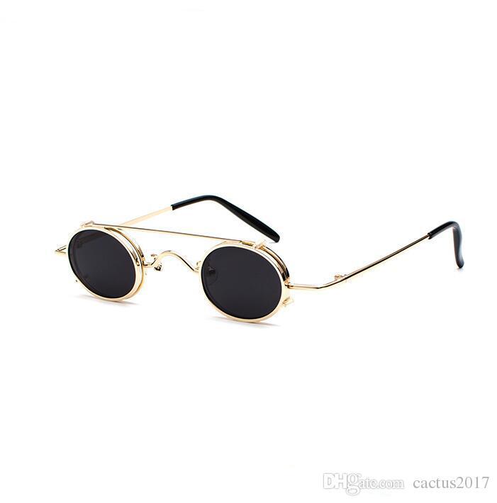Compre Steampunk Gafas De Sol Hombres Mujeres Oval Clip En Gafas De Sol  Mujeres Diseñador De La Marca Gafas Metal Punk 2018 NUEVO Pequeño Gafas A   11.48 Del ... 1f55eca56fa4
