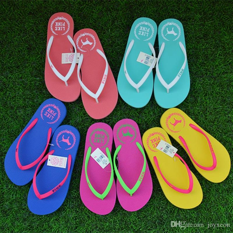 3efef5391 2019 Summer Love Pink Flip Flops Candy Colors Beach Pools Slippers Shoes  For Women Casual PVC Home Bathroom Sandals HH7 1054 From Joyxeon