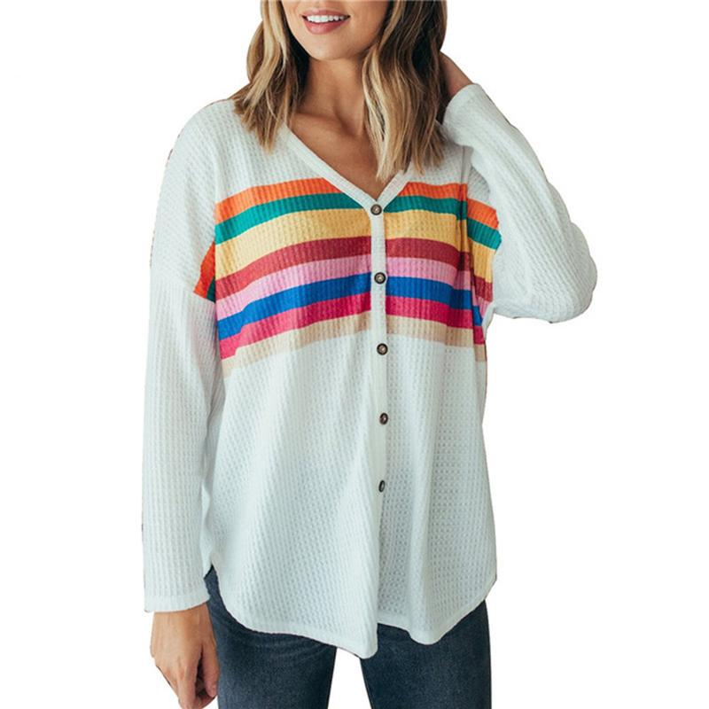 54851faf684 2018 Autumn Sweaters Women Striped Rainbow Print Loose Knitted Sweater  Winter Casual Button V-Neck Pullover Sweaters Jumpers Online with   43.12 Piece on ...