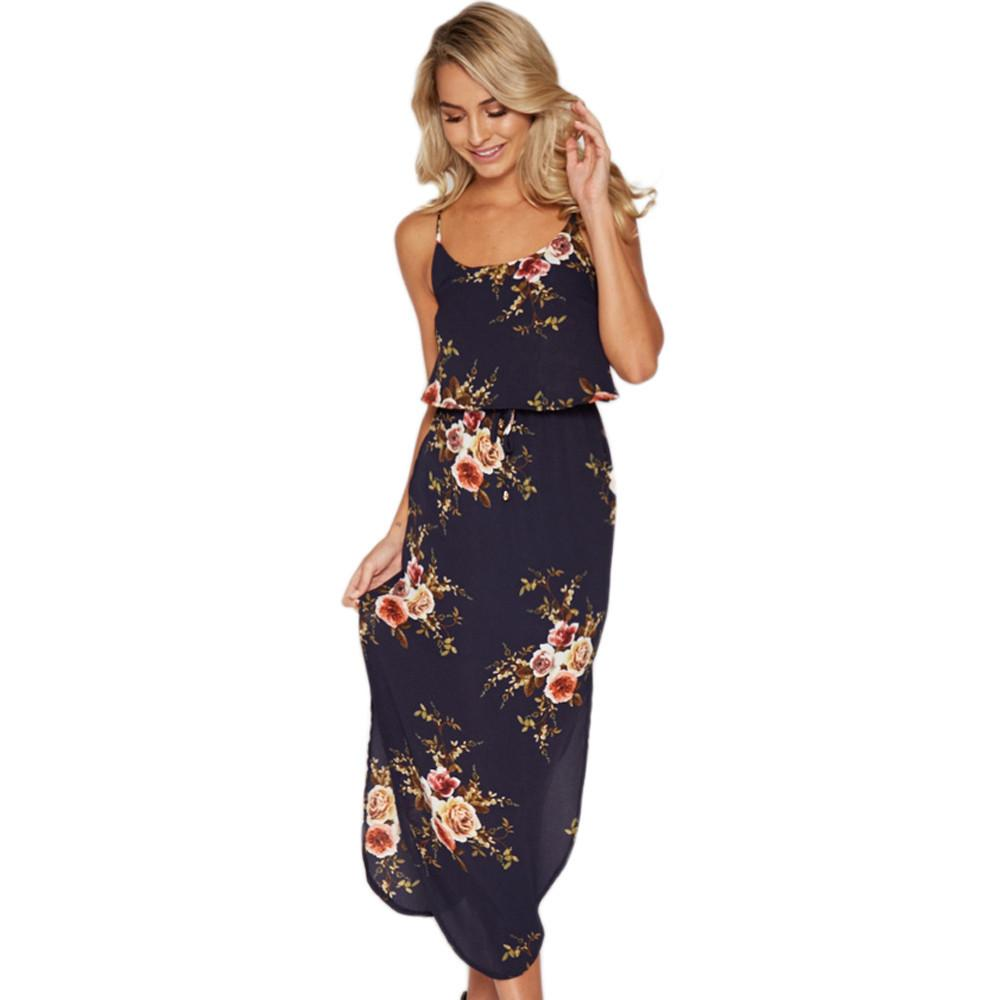 44f9685be12 Boho Women Summer Floral Print Sleeveless Dress Camis Long Casual Dress  Vestido Longo De Festa Para Casamento Robe For The Beach Green Sundresses  Black ...