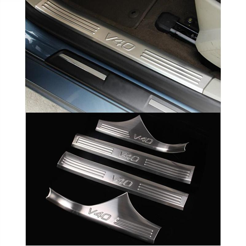 Stainless Steel Interior Door Sills Scuff Plates Guard Threshold Strip  Plate Welcome Pedal 3d Sticker For Volvo V40 Cc Seat Covers And Floor Mats  Seat ...